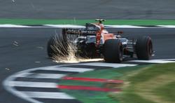 Sparks fly from Stoffel Vandoorne, McLaren MCL32