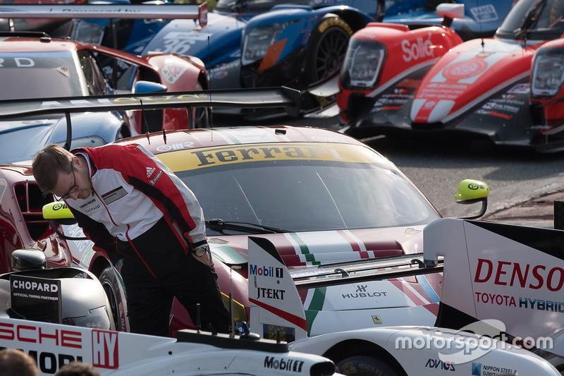 Andreas Seidl, Team Principal Porsche Team, looking at the Toyota Racing Toyota TS050 Hybrid