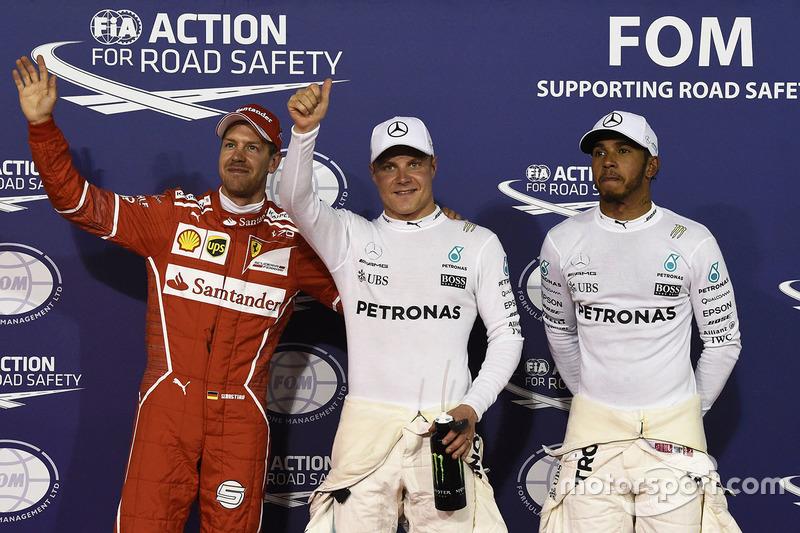 Polesitter: Valtteri Bottas, Mercedes AMG, second place Lewis Hamilton, Mercedes AMG, third place Sebastian Vettel, Ferrari