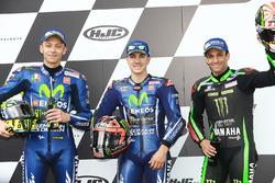 Qualifying top three: polesitter Maverick Viñales, Yamaha Factory Racing, second place Valentino Rossi, Yamaha Factory Racing, third place Johann Zarco, Monster Yamaha Tech 3
