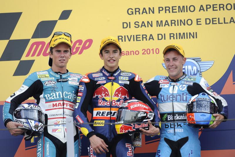 Podio: 1º Marc Márquez, 2º Nico Terol, 3º Efrén Vázquez