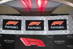 The new F1 logo displayed on the podium