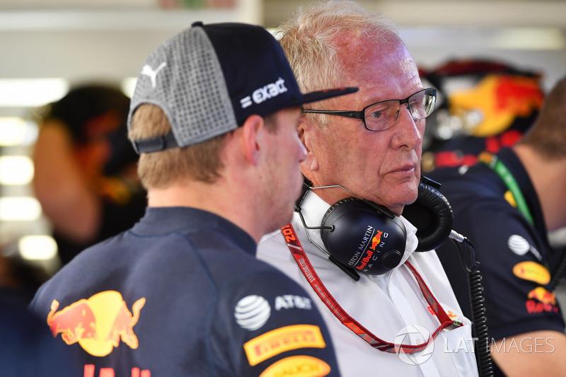 Max Verstappen, Red Bull Racing et Helmut Marko, consultant Red Bull Motorsport