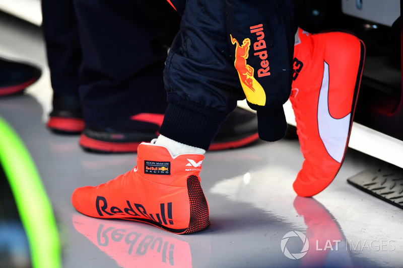 Racing boots of Max Verstappen, Red Bull Racing