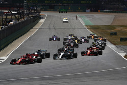 Start action, Sebastian Vettel, Ferrari SF71H, leads Valtteri Bottas, Mercedes AMG F1 W09