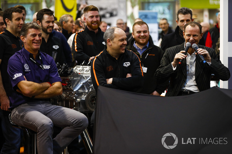 The Ginetta LMP1 car is launched, Ginetta boss Lawrence Tomlinson shares a joke with Graeme Lowdon