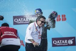 Alejandro Agag, CEO, Formula E, andJean-Eric Vergne, Techeetah. celebrate on the podium/ Andrew Ferraro