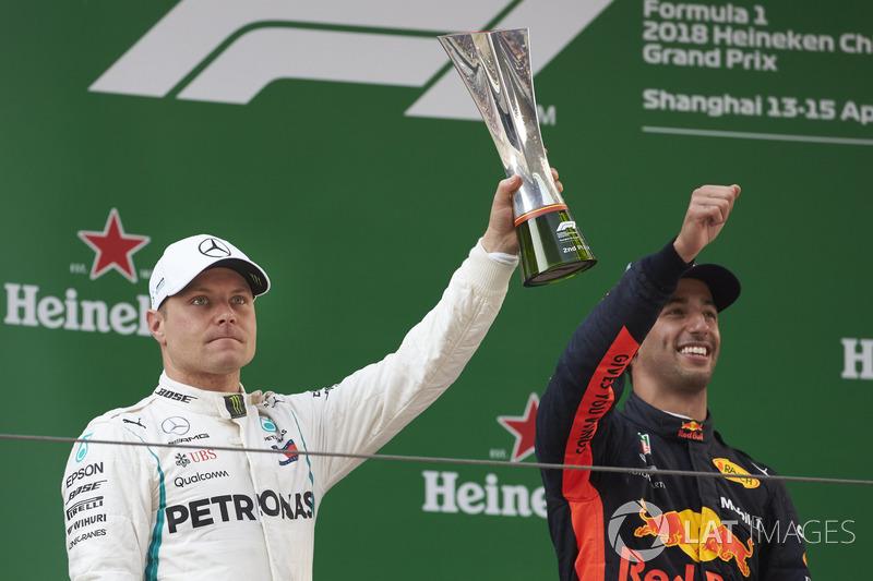 Le deuxième, Valtteri Bottas, Mercedes AMG F1, avec son trophée aux côtés du vainqueur Daniel Ricciardo, Red Bull Racing