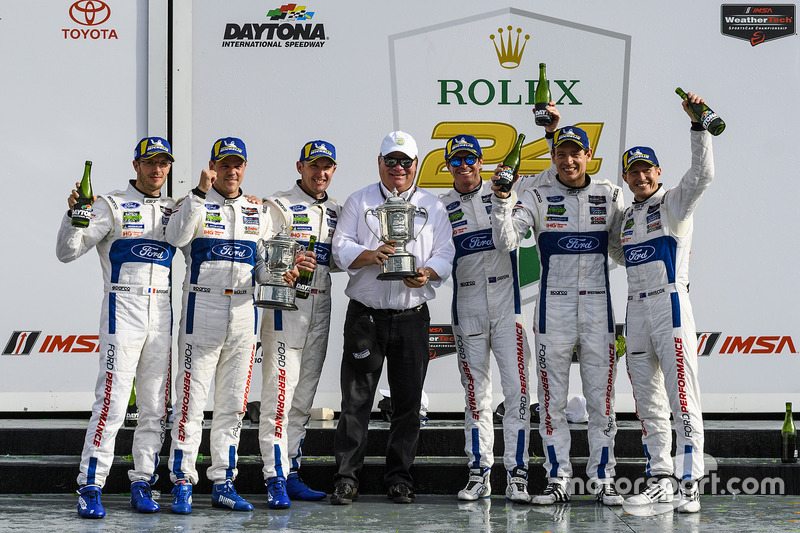 2018 Rolex 24 Hours at Daytona - The second-placed #66 Ford GT lineup of Bourdais, Müller and Hand, join team owner Chip Ganassi and their victorious #67 teammates Dixon, Westbrook and Briscoe.