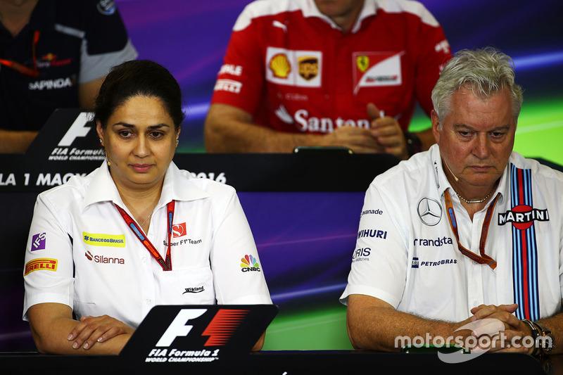 Monisha Kaltenborn, Sauber Team Principal and Pat Symonds, Williams Chief Technical Officer in the FIA Press Conference
