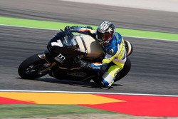 Loris Capirossi en train de tester une moto électrique à Saroléa en Aragón