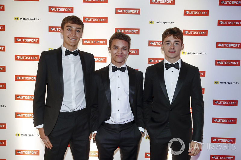 George Russell, GP3 Champion, Lando Norris, McLaren test driver and Charles Leclerc, F2 Champion