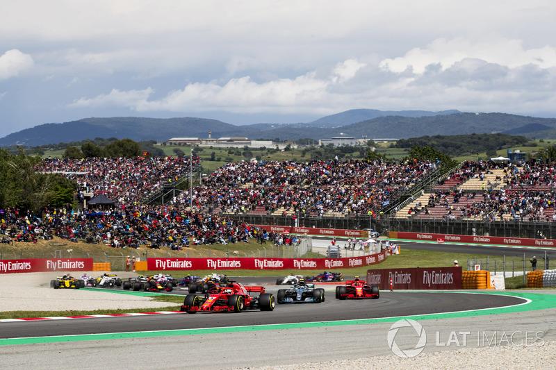 Себастьян Феттель, Ferrari SF71H, Валттери Боттас, Mercedes AMG F1 W09, Кими Райкконен, Ferrari SF71H, Макс Ферстаппен и Даниэль Риккардо, Red Bull Racing RB14