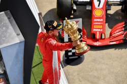Sebastian Vettel, Ferrari celebrates on podium