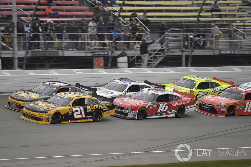 Daniel Hemric, Richard Childress Racing, Chevrolet Camaro South Point Hotel & Casino, Austin Dillon, Richard Childress Racing, Chevrolet Camaro Bass Pro Shops / Cabela's, and Ryan Reed, Roush Fenway Racing, Ford Mustang Drive Down A1C Lilly Diabetes
