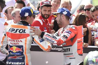 Segundo, Marc Marquez, Repsol Honda Team, tercero, Andrea Dovizioso, Ducati Team
