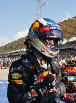Winnaar Daniel Ricciardo, Red Bull Racing viert in parc ferme