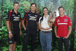 Supercars drivers Steve Owen, Chaz Mostert and James Courtney take time out to take in some of the attractions at Dreamworld