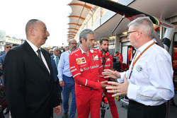 Illham Aliyev, President of Azerbaijan, Maurizio Arrivabene, Ferrari Team Principal and Ross Brawn, Formula One Managing Director of Motorsports Formula One World Championship, Rd8, Azerbaijan Grand Prix, Race, Baku City Circuit, Baku, Azerbaijan, Sunday 25 June 2017.