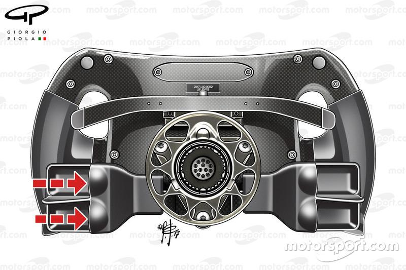 Arrière du volant de la Mercedes F1 W08 de Lewis Hamilton