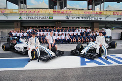 Felipe Massa, Williams; Paul di Resta, Williams Reserve Driver; and Valtteri Bottas, Williams, at a team photograph