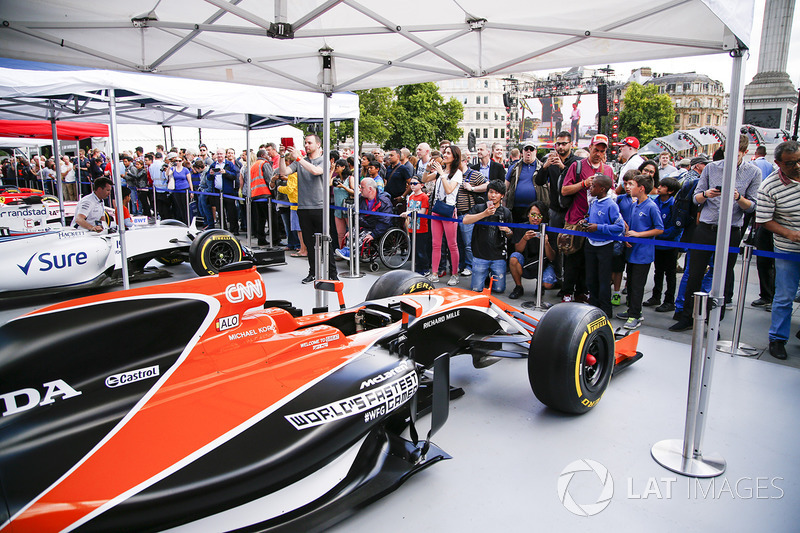 The McLaren MCL32 on display on the teams stand