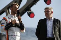 Jenson Button, McLaren, Ross Brawn, Managing Director of Motorsports, FOM, on stage