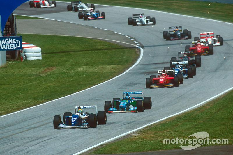 Ayrton Senna, Williams FW16, Michael Schumacher, Benetton B194, Gerhard Berger, Ferrari 412T1, Damon Hill, Williams FW16, Heinz-Harald Frentzen, Sauber C13