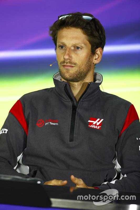 Romain Grosjean, Haas F1 Team, in the Thursday press conference