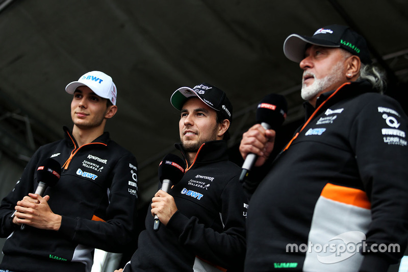 Sergio Perez, Esteban Ocon, Dr. Vijay Mallya, Sahara Force India Formula One Team Owner