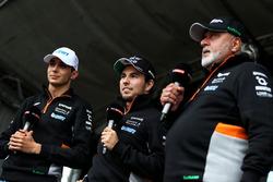 Sergio Perez, Esteban Ocon, Dr. Vijay Mallya, Sahara Force India Formula One Team Owner