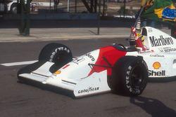 Ayrton Senna, McLaren MP4/7A Honda carries the Brazilian flag after his win