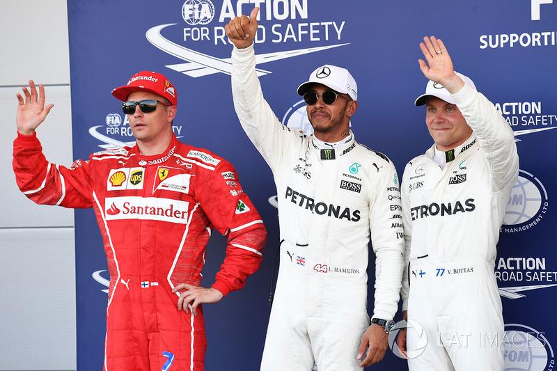 Polesitter Lewis Hamilton, Mercedes AMG F1; 2. Valtteri Bottas, Mercedes AMG F1; 3. Kimi Raikkonen, Ferrari