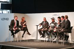 David Croft and Natalie Pinkham interview Vijay Mallya, Esteban Ocon and Sergio Perez at the Sahara Force India launch