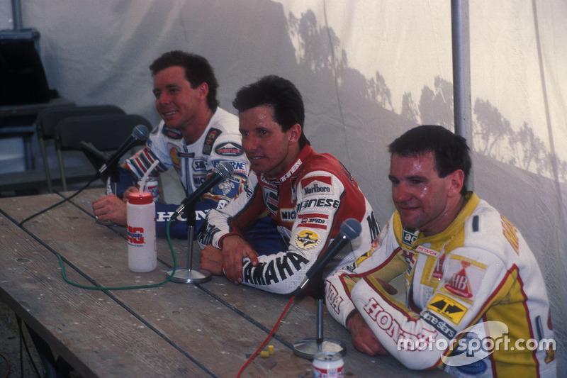1. Eddie Lawson, Yamaha; 2. Wayne Gardner, Honda; 3. Niall Mackenzie, HB-Honda