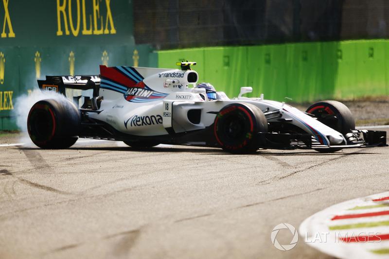 Lance Stroll, Williams FW40, spins