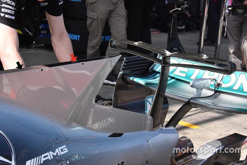 Mercedes AMG F1 W08 detalle de la aleta de tiburón de la chimenea
