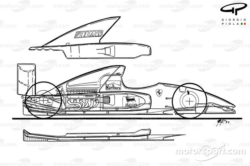 Ferrari F92A (644) 1992, vista laterale esplosa dettagliata