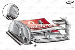 McLaren MP4-25 revised endplate shape (old specification inset)
