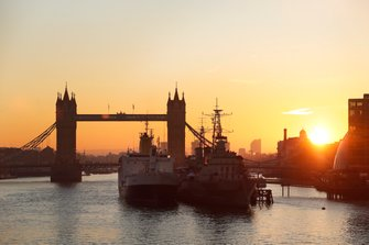 The 'floating paddock' St Helena docked in London next to HMS Belfast