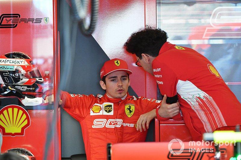 Charles Leclerc, Ferrari, e Mattia Binotto, Team Principal Ferrari