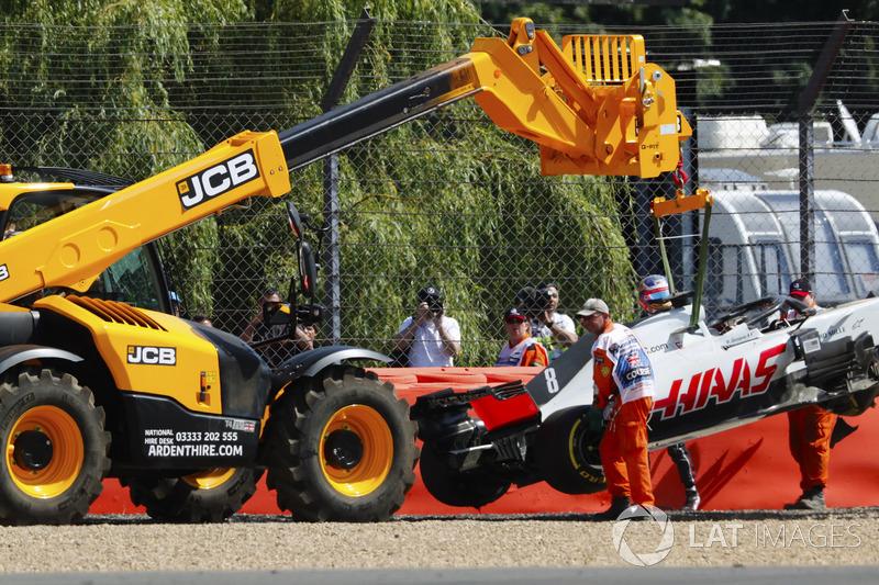 Romain Grosjean, Haas F1 Team, dopo l'incidente