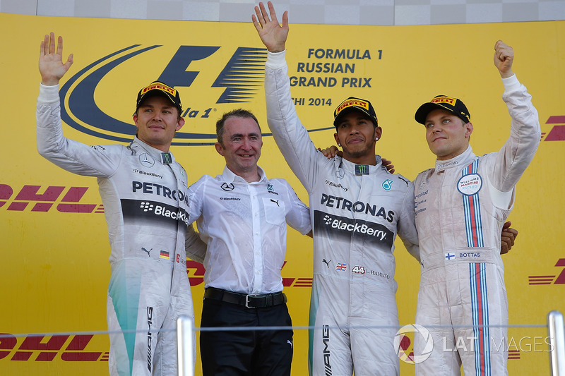Nico Rosberg, Mercedes AMG F1, Paddy Lowe, Mercedes AMG F1 Executive Director, race winner Lewis Hamilton, Mercedes AMG F1 and Valtteri Bottas, Williams celebrate on the podium