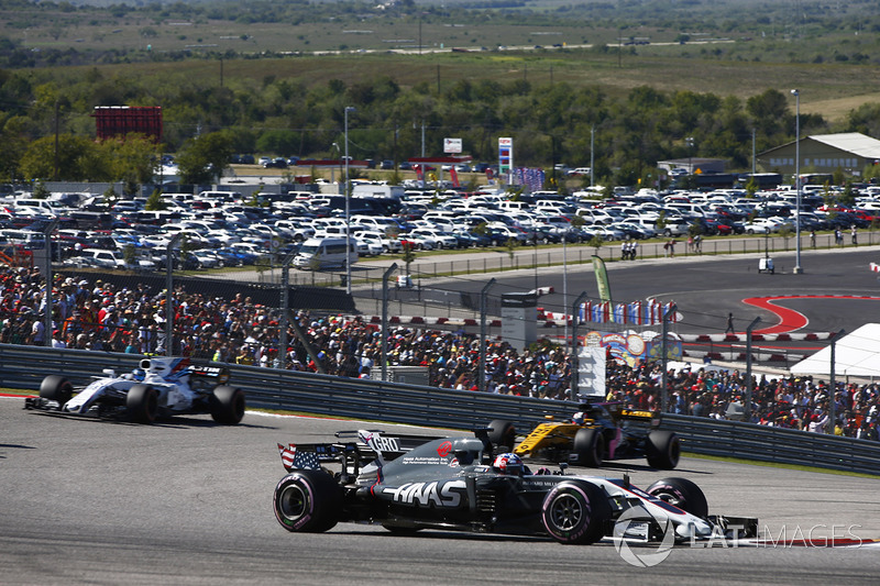 Romain Grosjean, Haas F1 Team VF-17, Lance Stroll, Williams FW40, Nico Hulkenberg, Renault Sport F1 Team RS17