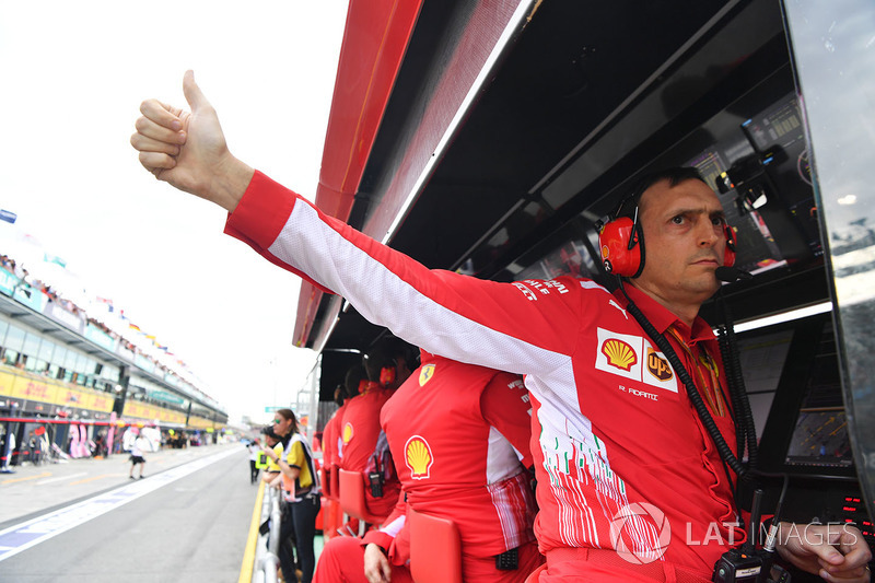 Riccardo Adami, Ferrari Race Engineer on the Ferrari pit wall gantry