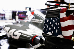 US flag on the rear wing end plate of the car driven by Romain Grosjean, Haas F1 Team VF-17