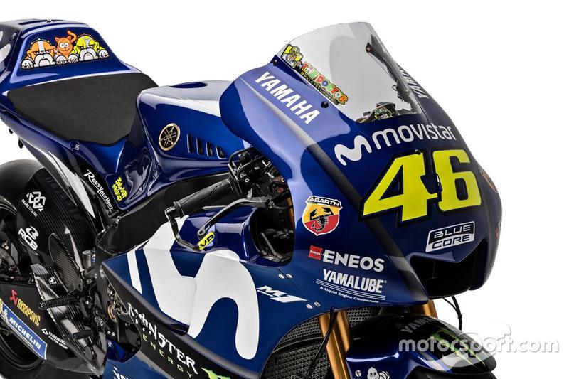 Detalle de la moto de Valentino Rossi, Yamaha Factory Racing