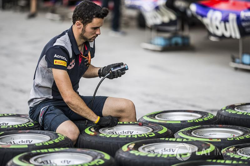 Scuderia Toro Rosso mecánico y neumáticos Pirelli