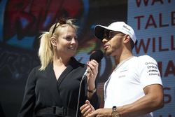Lewis Hamilton, Mercedes AMG F1, is interviewed on stage