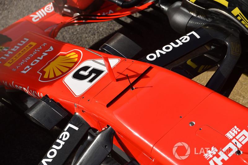 Detalle de la suspensión delantera y el morro del Ferrari SF71H